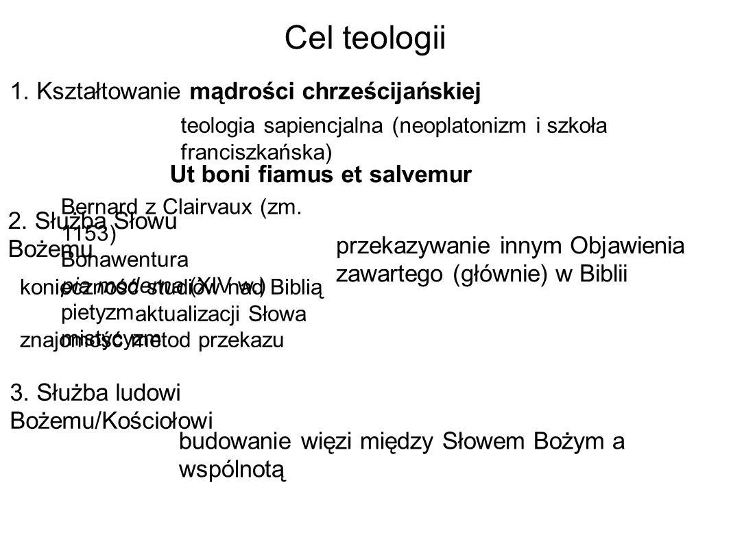 Cel teologii 1. Kształtowanie mądrości chrześcijańskiej Ut boni fiamus et salvemur np.