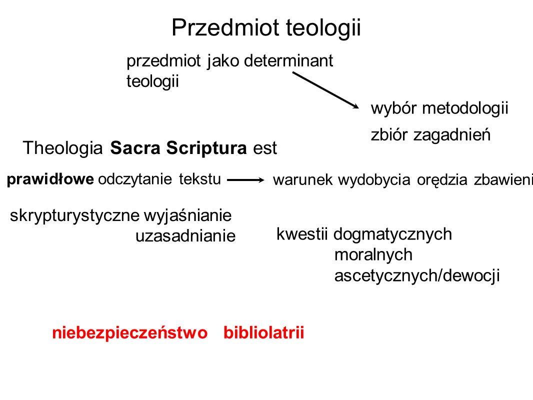Przedmiot teologii Theologia Sacra Scriptura est warunek wydobycia orędzia zbawienia wybór metodologii przedmiot jako determinant teologii skrypturystyczne wyjaśnianie uzasadnianie np.