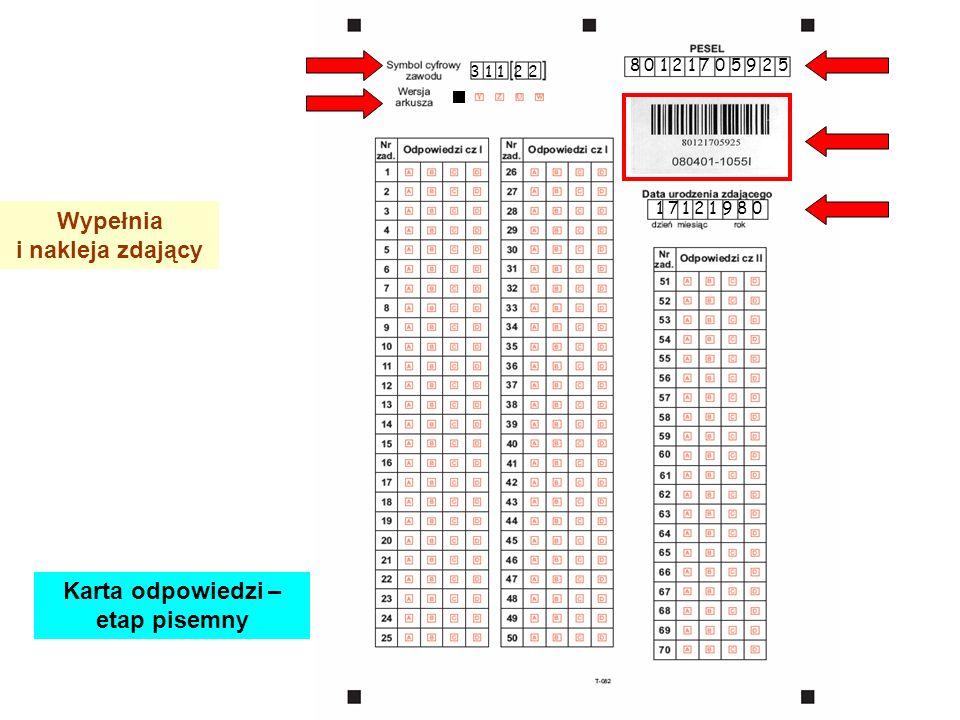 3 1 1 2 2 8 0 1 2 1 7 0 5 9 2 5 1 7 1 2 1 9 8 0 Wypełnia i nakleja zdający Karta odpowiedzi – etap pisemny