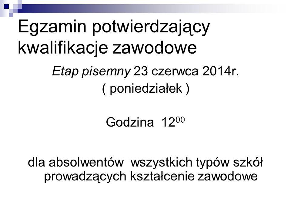 Egzamin potwierdzający kwalifikacje zawodowe Etap praktyczny : Od 24 do 27 czerwca 2014r.