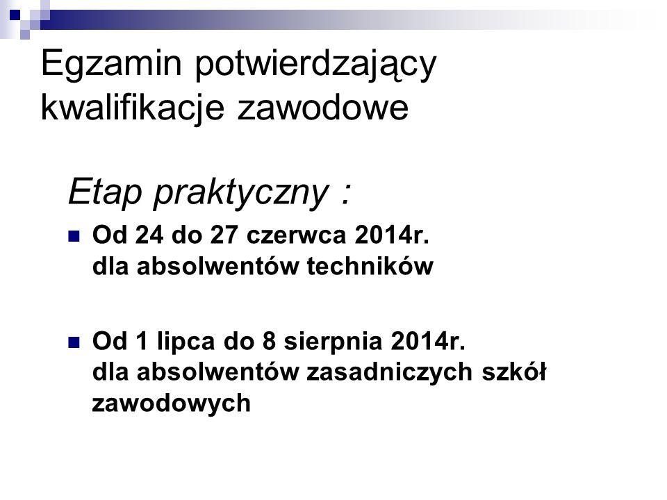 Egzamin potwierdzający kwalifikacje zawodowe Etap praktyczny : Od 24 do 27 czerwca 2014r. dla absolwentów techników Od 1 lipca do 8 sierpnia 2014r. dl