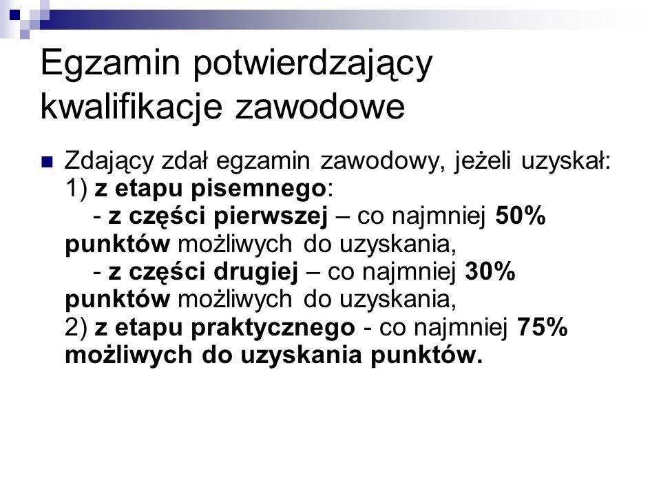 Egzamin potwierdzający kwalifikacje zawodowe Zdający zdał egzamin zawodowy, jeżeli uzyskał: 1) z etapu pisemnego: - z części pierwszej – co najmniej 5