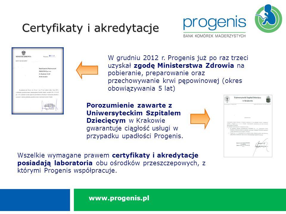 Certyfikaty i akredytacje Porozumienie zawarte z Uniwersyteckim Szpitalem Dziecięcym w Krakowie gwarantuje ciągłość usługi w przypadku upadłości Progenis.