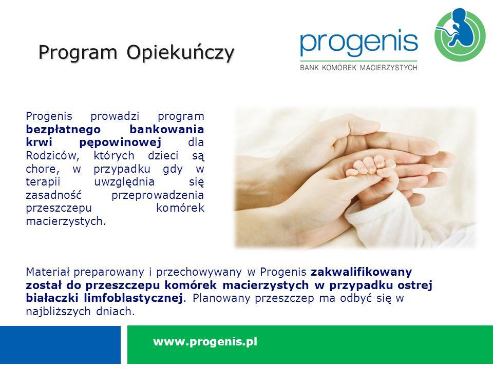 Program Opiekuńczy Progenis prowadzi program bezpłatnego bankowania krwi pępowinowej dla Rodziców, których dzieci są chore, w przypadku gdy w terapii uwzględnia się zasadność przeprowadzenia przeszczepu komórek macierzystych.