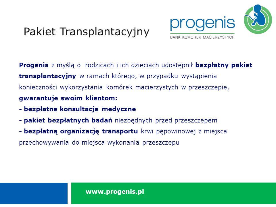 Progenis z myślą o rodzicach i ich dzieciach udostępnił bezpłatny pakiet transplantacyjny w ramach którego, w przypadku wystąpienia konieczności wykorzystania komórek macierzystych w przeszczepie, gwarantuje swoim klientom: - bezpłatne konsultacje medyczne - pakiet bezpłatnych badań niezbędnych przed przeszczepem - bezpłatną organizację transportu krwi pępowinowej z miejsca przechowywania do miejsca wykonania przeszczepu Pakiet Transplantacyjny www.progenis.pl
