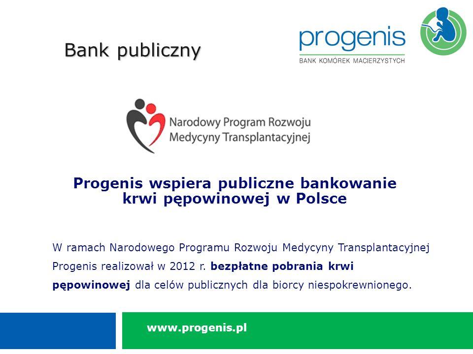 Progenis wspiera publiczne bankowanie krwi pępowinowej w Polsce W ramach Narodowego Programu Rozwoju Medycyny Transplantacyjnej Progenis realizował w 2012 r.