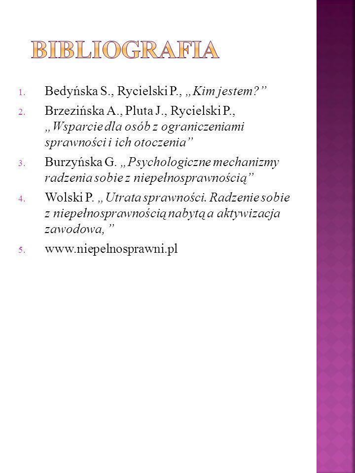 1. Bedyńska S., Rycielski P., Kim jestem? 2. Brzezińska A., Pluta J., Rycielski P., Wsparcie dla osób z ograniczeniami sprawności i ich otoczenia 3. B