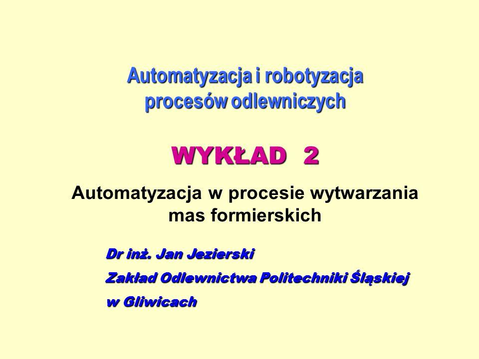 Automatyzacja i robotyzacja procesów odlewniczych WYKŁAD 2 Automatyzacja w procesie wytwarzania mas formierskich Dr inż. Jan Jezierski Zakład Odlewnic