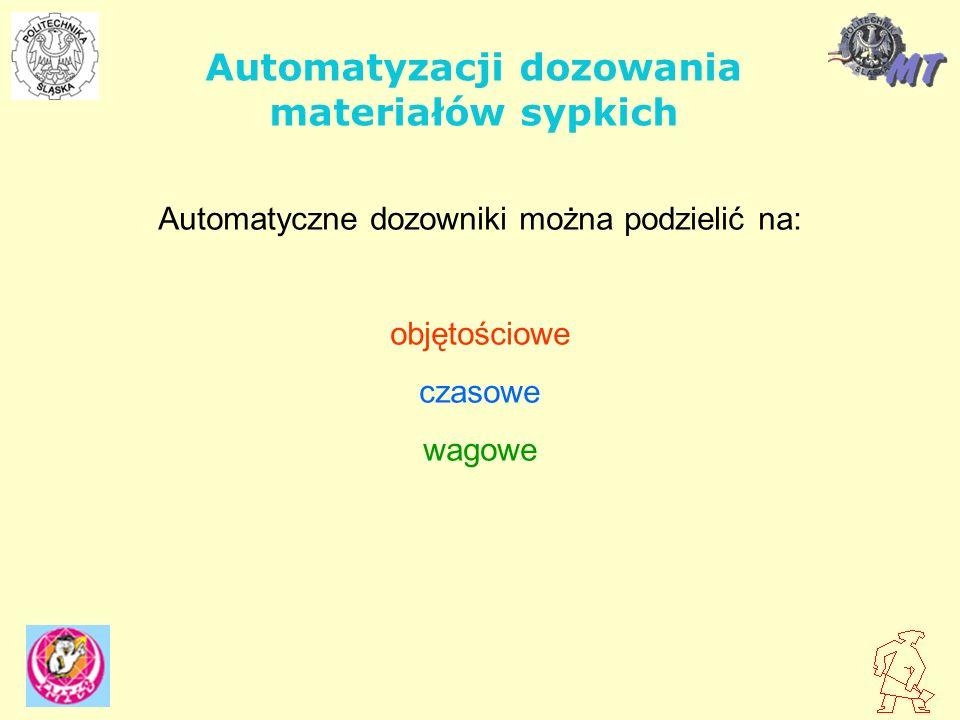 Automatyzacji dozowania materiałów sypkich Automatyczne dozowniki można podzielić na: objętościowe czasowe wagowe
