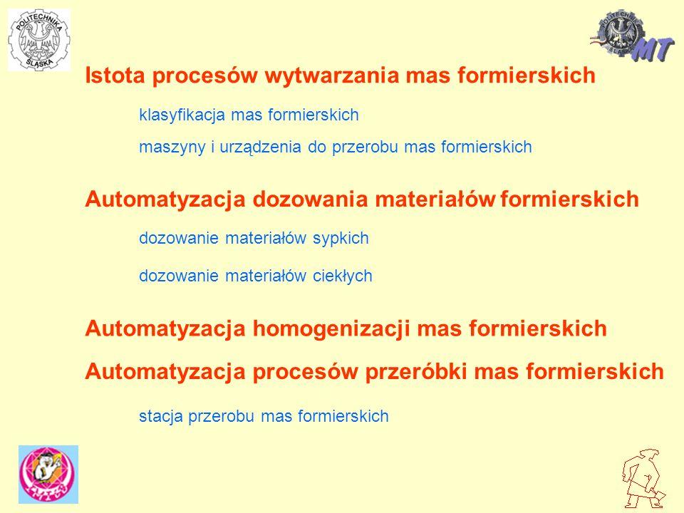 Istota procesów wytwarzania mas formierskich Automatyzacja dozowania materiałów formierskich Automatyzacja homogenizacji mas formierskich Automatyzacj