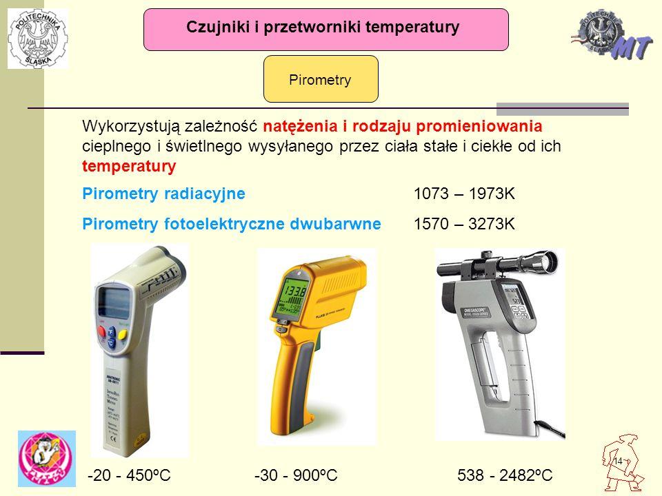 14 Pirometry Czujniki i przetworniki temperatury Wykorzystują zależność natężenia i rodzaju promieniowania cieplnego i świetlnego wysyłanego przez cia