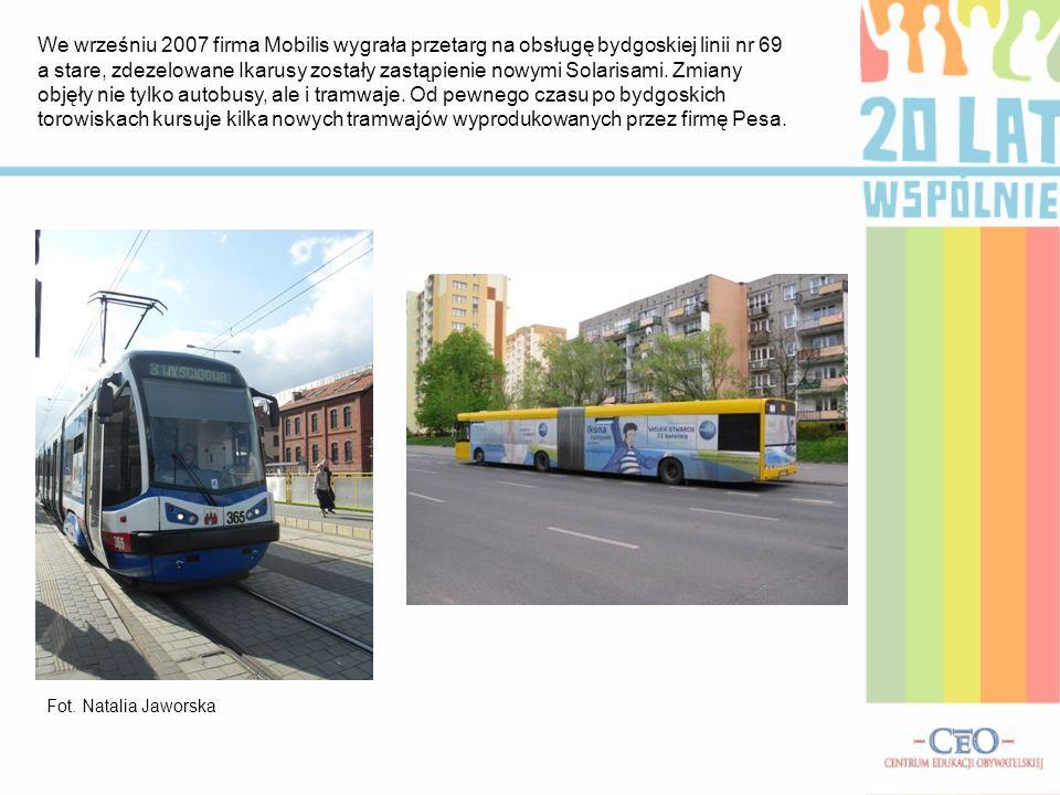 We wrześniu 2007 firma Mobilis wygrała przetarg na obsługę bydgoskiej linii nr 69 a stare, zdezelowane Ikarusy zostały zastąpienie nowymi Solarisami.