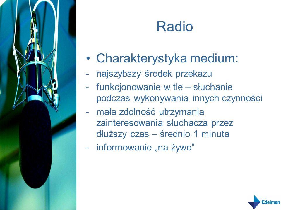 Cechy informacji radiowej Krótka, zwięzła Strona czynna – nadanie tempa Proste zdania zbliżone do języka mówionego Brak określeń czasu – medium natychmiastowe Konkretne i szczegółowe informacje