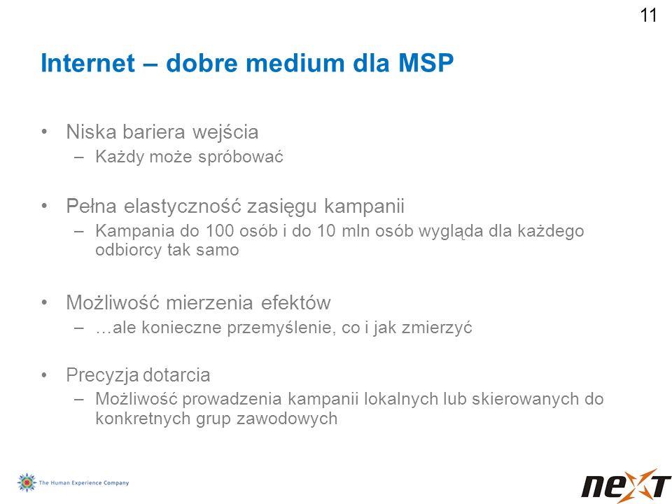 11 Internet – dobre medium dla MSP Niska bariera wejścia –Każdy może spróbować Pełna elastyczność zasięgu kampanii –Kampania do 100 osób i do 10 mln o