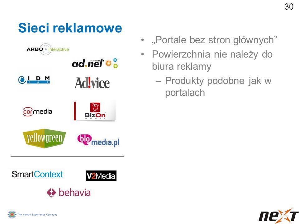 30 Sieci reklamowe Portale bez stron głównych Powierzchnia nie należy do biura reklamy –Produkty podobne jak w portalach