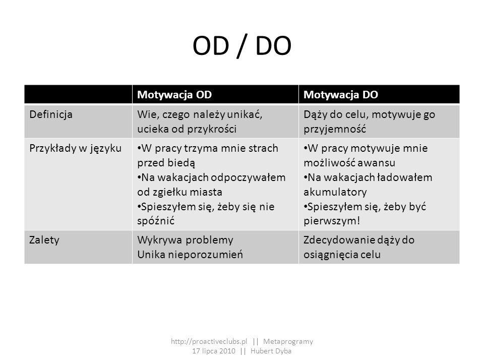 OD / DO Motywacja ODMotywacja DO DefinicjaWie, czego należy unikać, ucieka od przykrości Dąży do celu, motywuje go przyjemność Przykłady w języku W pr