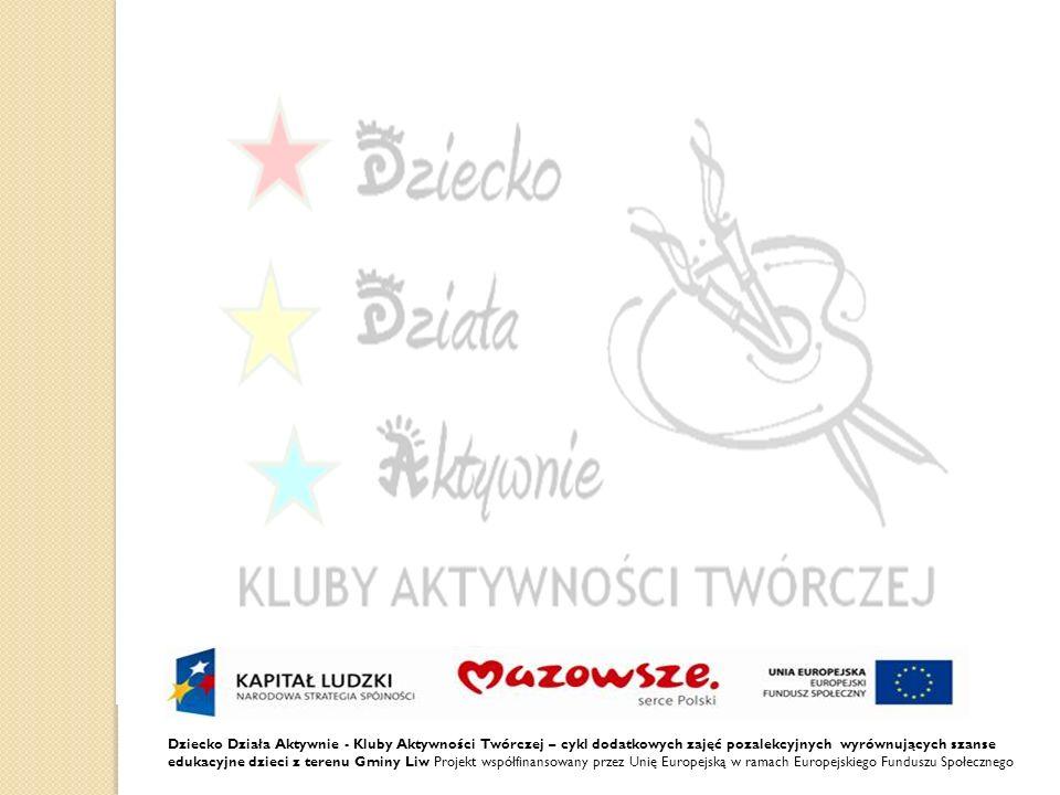 Dziecko Działa Aktywnie - Kluby Aktywności Twórczej – cykl dodatkowych zajęć pozalekcyjnych wyrównujących szanse edukacyjne dzieci z terenu Gminy Liw Projekt współfinansowany przez Unię Europejską w ramach Europejskiego Funduszu Społecznego