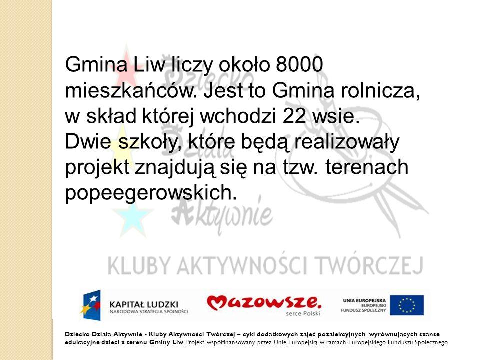 Dziecko Działa Aktywnie - Kluby Aktywności Twórczej – cykl dodatkowych zajęć pozalekcyjnych wyrównujących szanse edukacyjne dzieci z terenu Gminy Liw Projekt współfinansowany przez Unię Europejską w ramach Europejskiego Funduszu Społecznego Dzieci będą rozwijać swoje talenty i zainteresowania w Klubach Aktywności Twórczej DDA.