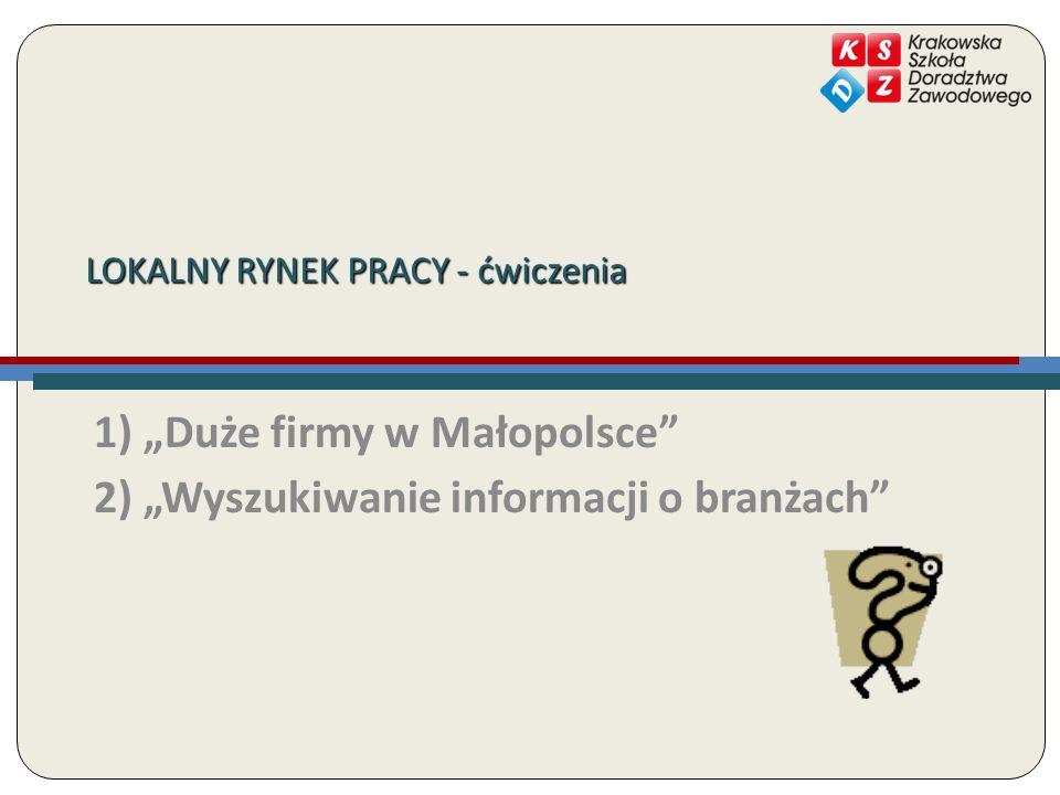 1) Duże firmy w Małopolsce 2) Wyszukiwanie informacji o branżach LOKALNY RYNEK PRACY - ćwiczenia