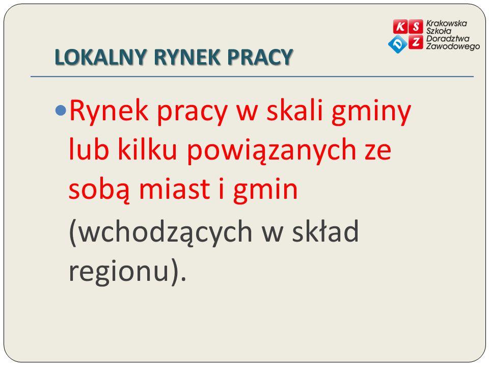 LOKALNY RYNEK PRACY Rynek pracy w skali gminy lub kilku powiązanych ze sobą miast i gmin (wchodzących w skład regionu).