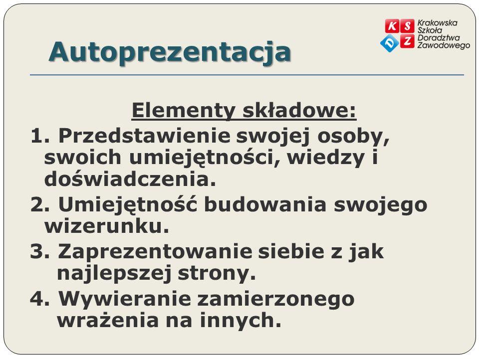 Autoprezentacja Elementy składowe: 1.