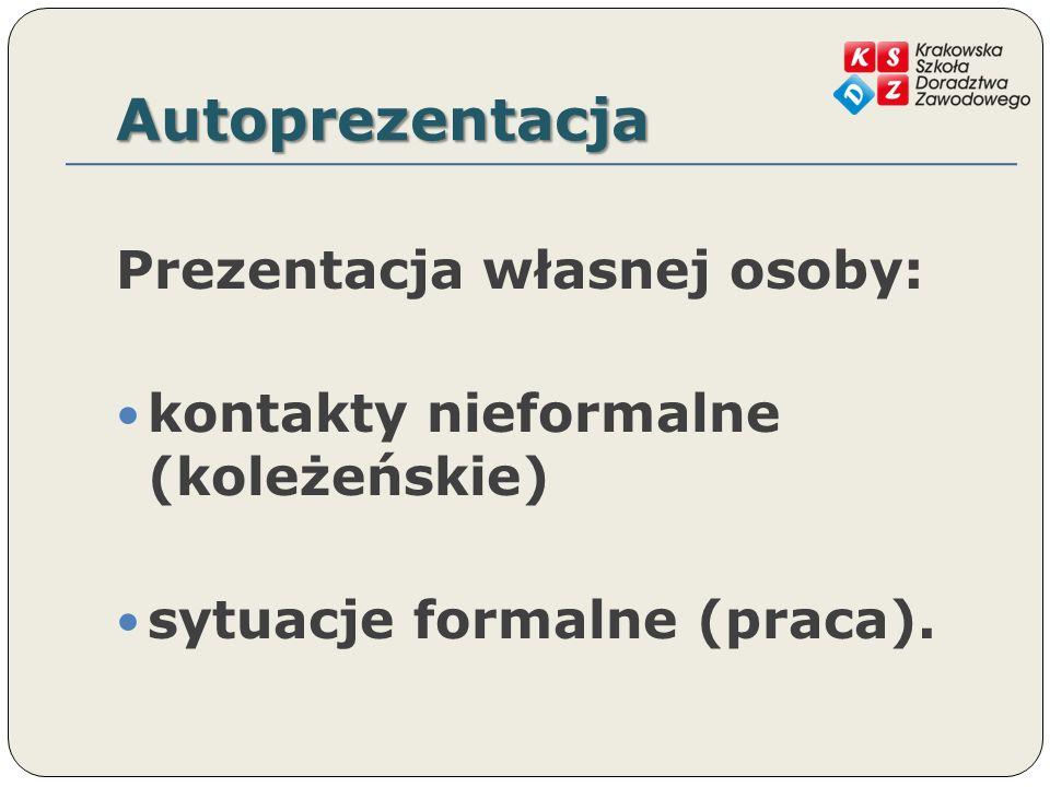 Autoprezentacja Prezentacja własnej osoby: kontakty nieformalne (koleżeńskie) sytuacje formalne (praca).