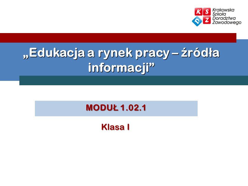 MODU Ł 1.02.1 Edukacja a rynek pracy – ź ród ł a informacji Klasa I