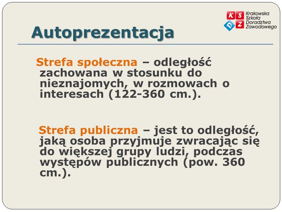 Autoprezentacja Strefa społeczna – odległość zachowana w stosunku do nieznajomych, w rozmowach o interesach (122-360 cm.). Strefa publiczna – jest to