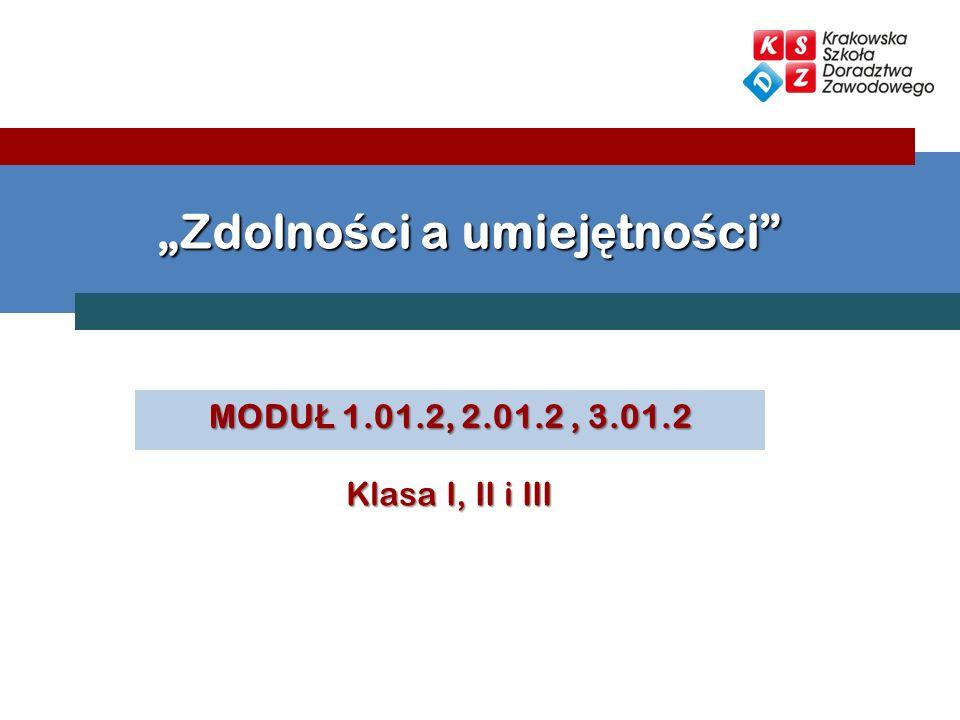 MODU Ł 1.01.2, 2.01.2, 3.01.2 Zdolno ś ci a umiej ę tno ś ci Klasa I, II i III
