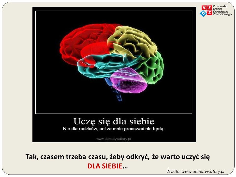 Tak, czasem trzeba czasu, żeby odkryć, że warto uczyć się DLA SIEBIE… Źródło: www.demotywatory.pl