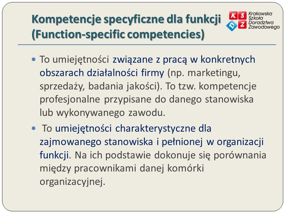 Kompetencje specyficzne dla funkcji (Function-specific competencies) To umiejętności związane z pracą w konkretnych obszarach działalności firmy (np.
