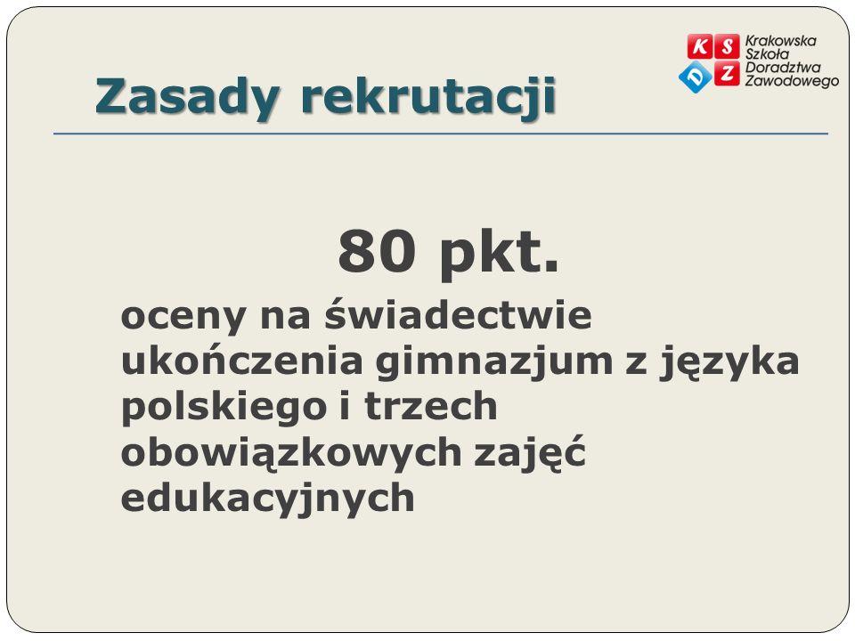 Zasady rekrutacji 80 pkt.