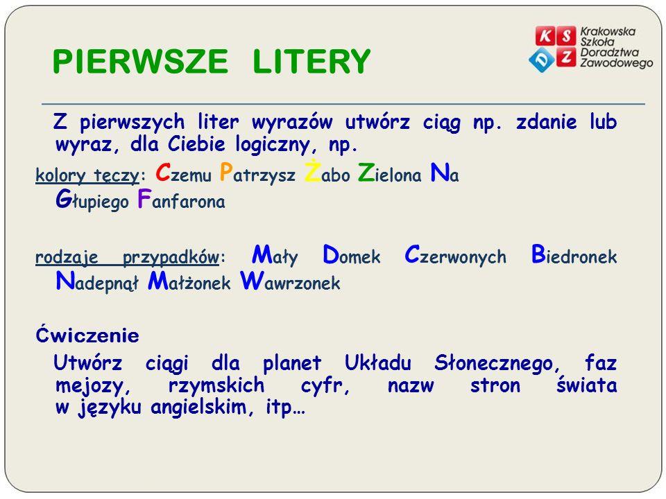 PIERWSZE LITERY Z pierwszych liter wyrazów utwórz ciąg np.