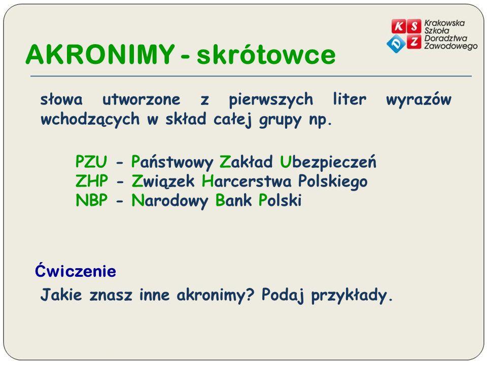 AKRONIMY - skrótowce słowa utworzone z pierwszych liter wyrazów wchodzących w skład całej grupy np.