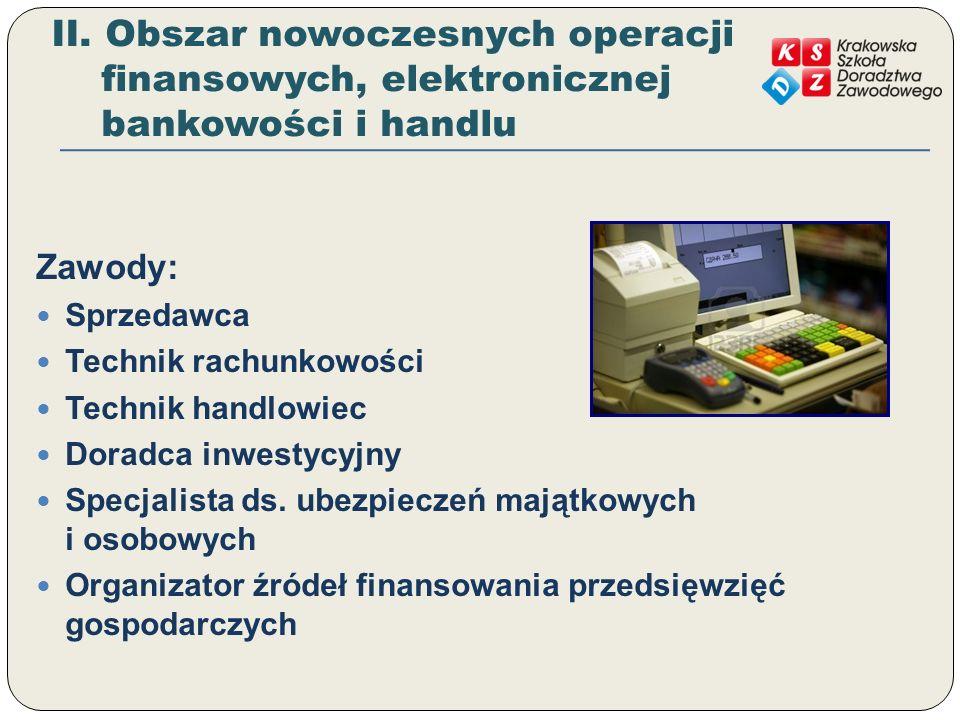 II. Obszar nowoczesnych operacji finansowych, elektronicznej bankowości i handlu Zawody: Sprzedawca Technik rachunkowości Technik handlowiec Doradca i