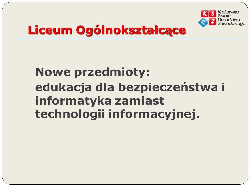 Liceum Ogólnokształcące Nowe przedmioty: edukacja dla bezpieczeństwa i informatyka zamiast technologii informacyjnej.