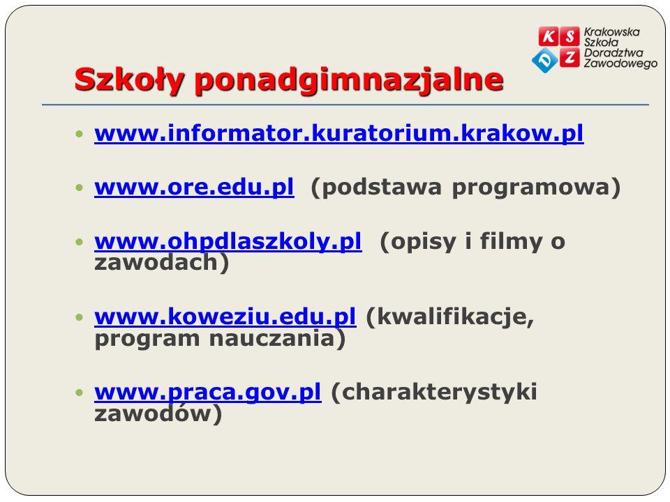 Szkoły ponadgimnazjalne www.informator.kuratorium.krakow.pl www.ore.edu.pl (podstawa programowa) www.ore.edu.pl www.ohpdlaszkoly.pl (opisy i filmy o zawodach) www.ohpdlaszkoly.pl www.koweziu.edu.pl (kwalifikacje, program nauczania) www.koweziu.edu.pl www.praca.gov.pl (charakterystyki zawodów) www.praca.gov.pl