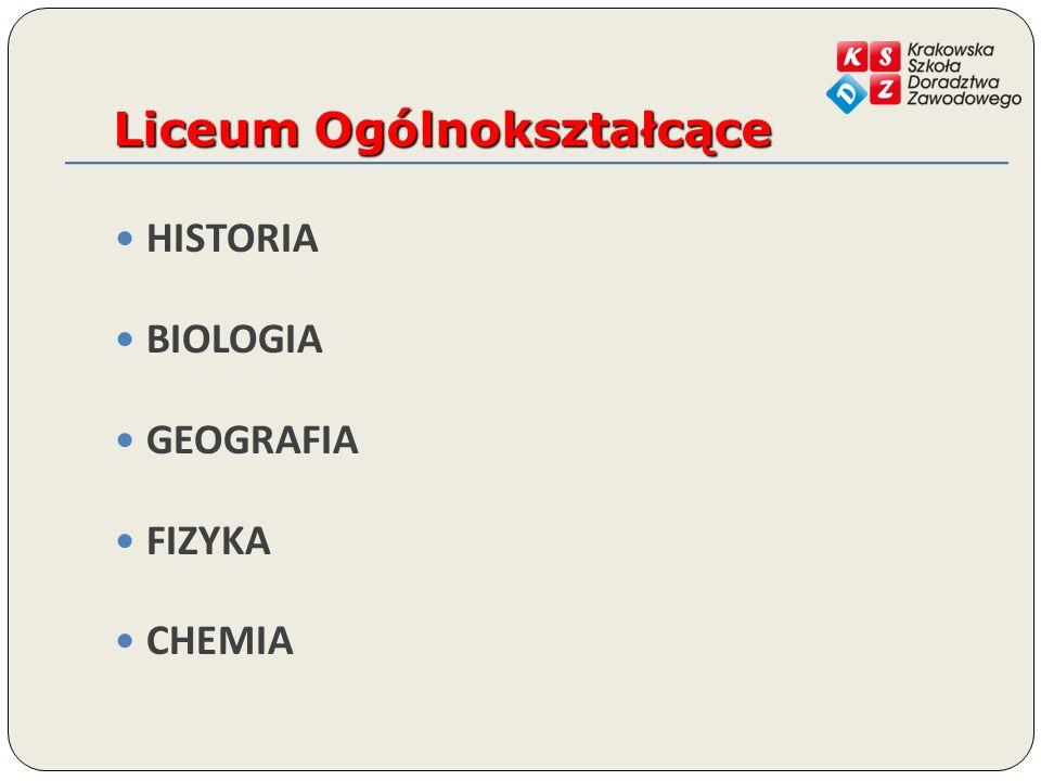 Liceum Ogólnokształcące HISTORIA BIOLOGIA GEOGRAFIA FIZYKA CHEMIA