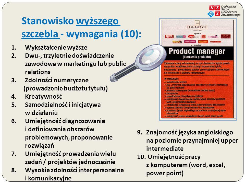 Stanowisko wyższego szczebla - wymagania (10): 1.Wykształcenie wyższe 2.Dwu-, trzyletnie doświadczenie zawodowe w marketingu lub public relations 3.Zd