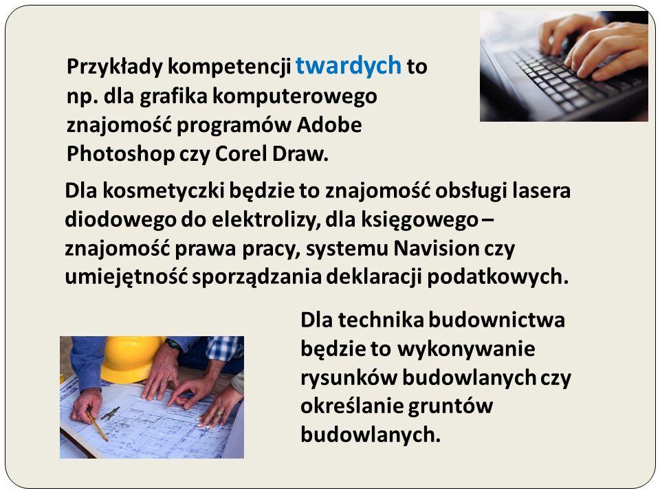 Przykłady kompetencji twardych to np. dla grafika komputerowego znajomość programów Adobe Photoshop czy Corel Draw. Dla kosmetyczki będzie to znajomoś