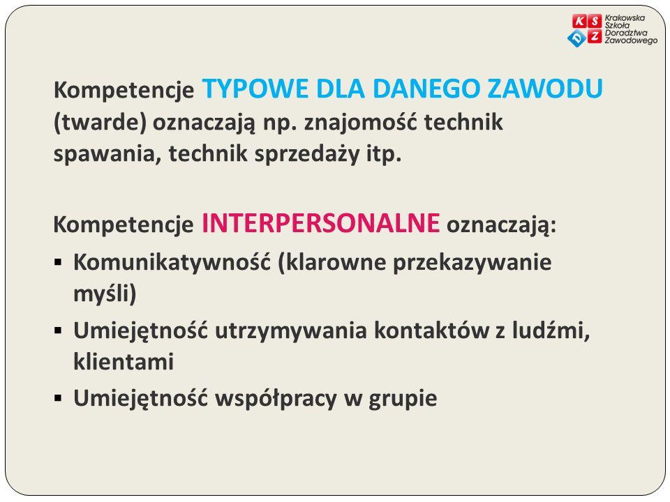 Kompetencje TYPOWE DLA DANEGO ZAWODU (twarde) oznaczają np. znajomość technik spawania, technik sprzedaży itp. Kompetencje INTERPERSONALNE oznaczają: