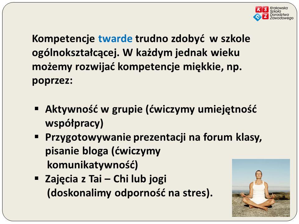 Aktywność w grupie (ćwiczymy umiejętność współpracy) Przygotowywanie prezentacji na forum klasy, pisanie bloga (ćwiczymy komunikatywność) Zajęcia z Ta