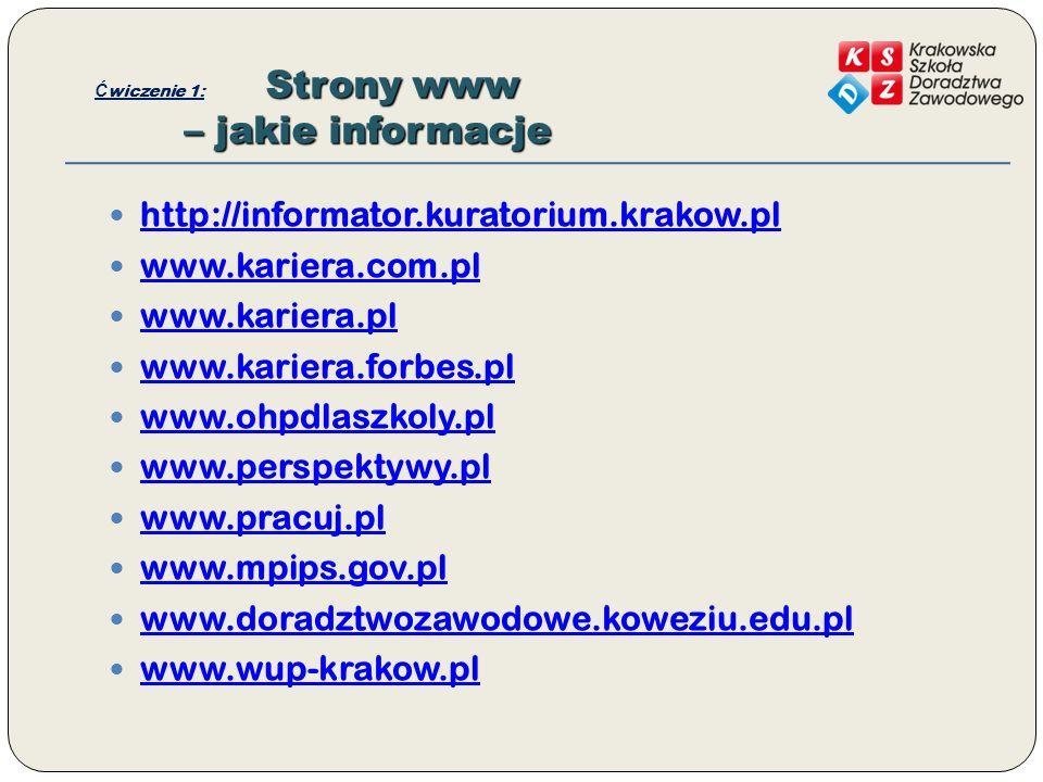 Strony www – jakie informacje Ć wiczenie 1: Strony www – jakie informacje http://informator.kuratorium.krakow.pl www.kariera.com.pl www.kariera.pl www