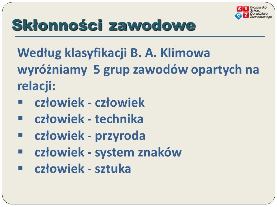 Skłonności zawodowe Według klasyfikacji B. A. Klimowa wyróżniamy 5 grup zawodów opartych na relacji: człowiek - człowiek człowiek - technika człowiek