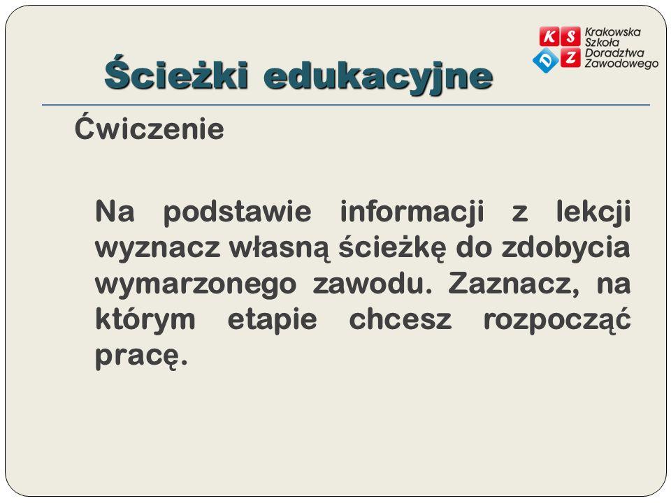 Ścieżki edukacyjne Ć wiczenie Na podstawie informacji z lekcji wyznacz w ł asn ą ś cie ż k ę do zdobycia wymarzonego zawodu.