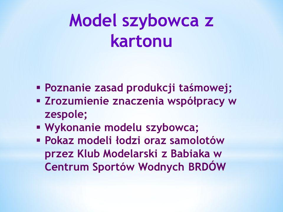 Model szybowca z kartonu Poznanie zasad produkcji taśmowej; Zrozumienie znaczenia współpracy w zespole; Wykonanie modelu szybowca; Pokaz modeli łodzi