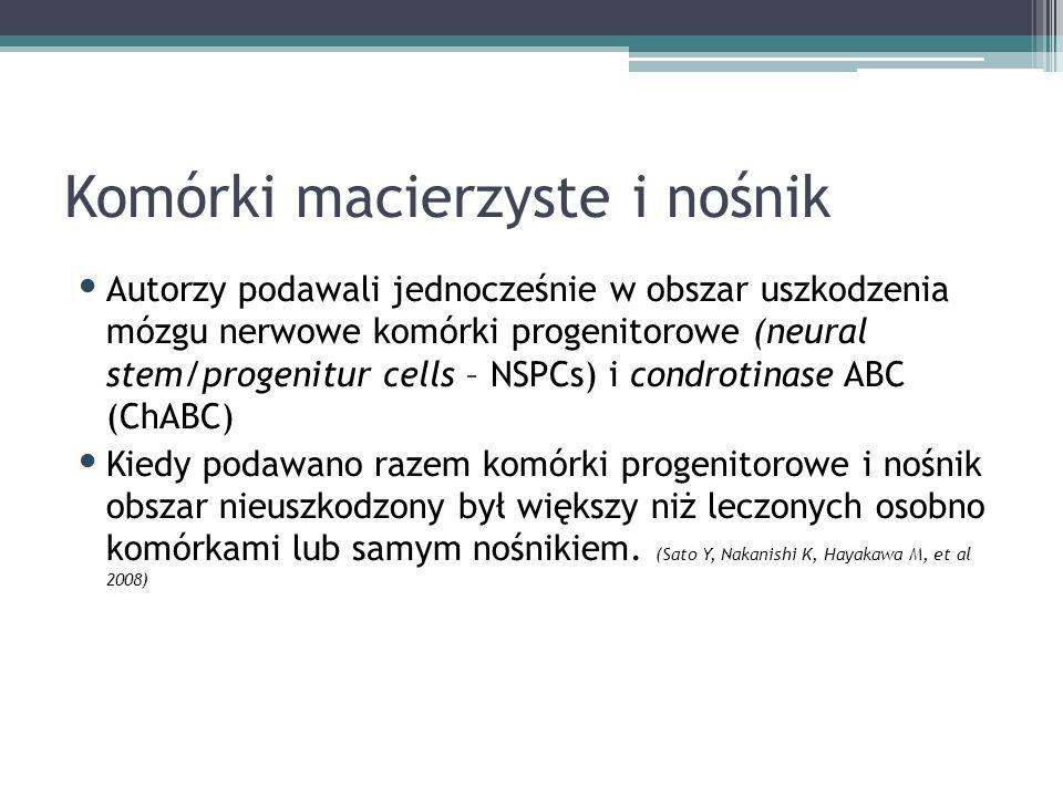 Komórki macierzyste i nośnik Autorzy podawali jednocześnie w obszar uszkodzenia mózgu nerwowe komórki progenitorowe (neural stem/progenitur cells – NSPCs) i condrotinase ABC (ChABC) Kiedy podawano razem komórki progenitorowe i nośnik obszar nieuszkodzony był większy niż leczonych osobno komórkami lub samym nośnikiem.