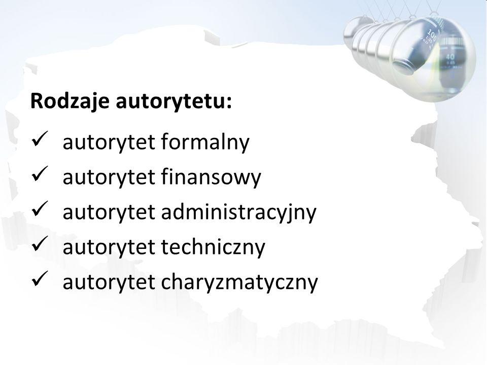 Rodzaje autorytetu: autorytet formalny autorytet finansowy autorytet administracyjny autorytet techniczny autorytet charyzmatyczny