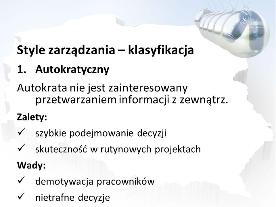 Style zarządzania – klasyfikacja 1.Autokratyczny Autokrata nie jest zainteresowany przetwarzaniem informacji z zewnątrz. Zalety: szybkie podejmowanie