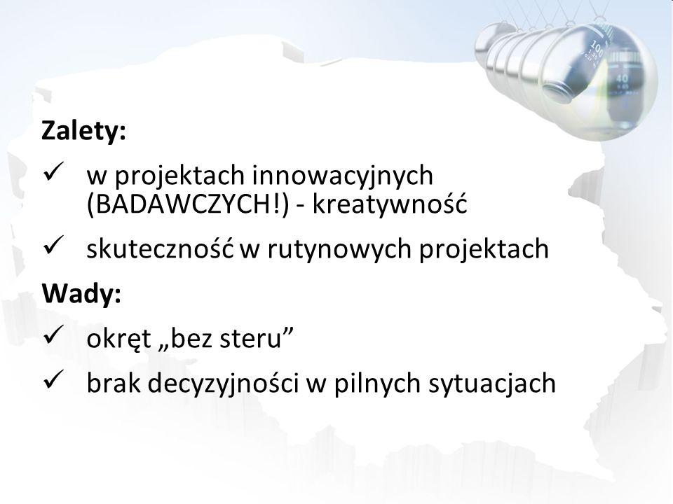 Zalety: w projektach innowacyjnych (BADAWCZYCH!) - kreatywność skuteczność w rutynowych projektach Wady: okręt bez steru brak decyzyjności w pilnych s